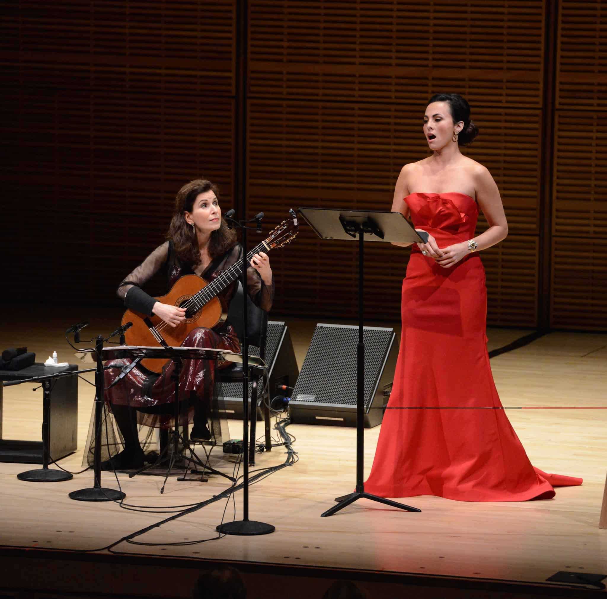 Isabel Leonard and Sharon Isbin at Carnegie Hall (Photo by Pete Checchia)