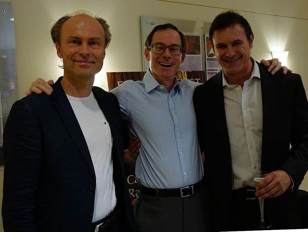 L-R: Conductor Ragnar Bohlin, Recording Engineer David Bowles, and Composer David Conte
