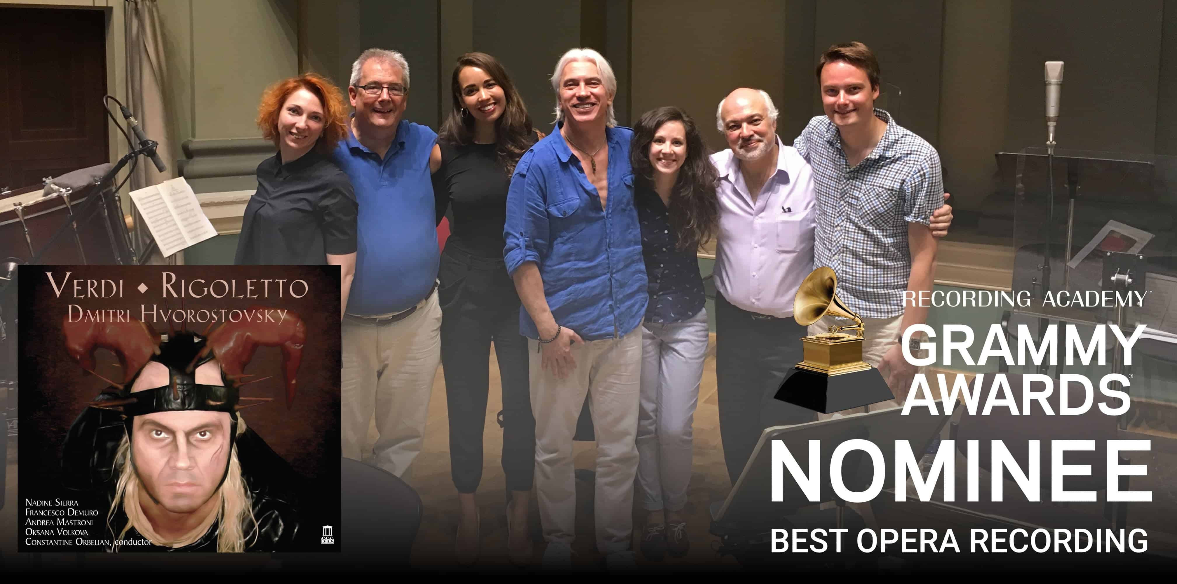 Verdi: Rigoletto - GRAMMY Nomination - Cover art with GRAMMY Nominee Sticker overlayed on recording session photo