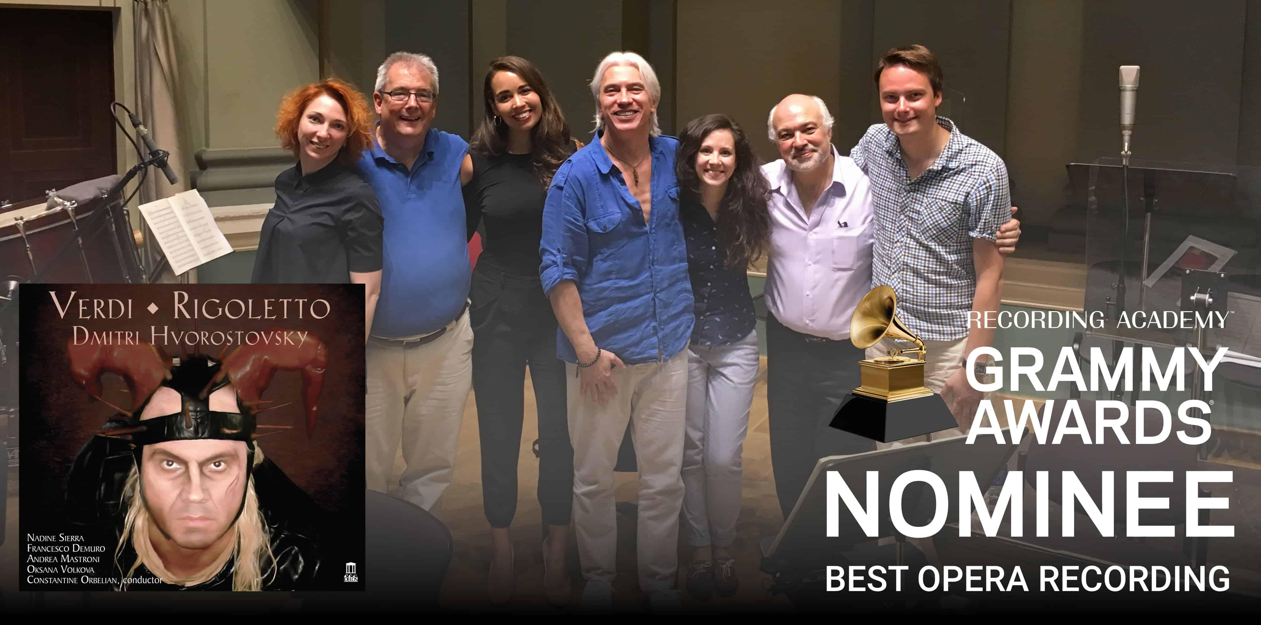 Verdi: Rigoletto - GRAMMY Nomination - Cover art with GRAMMY Nominee Sticker overlayed on recording session photo