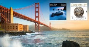 Golden Gate bridge with two referneced album covers added in skyline