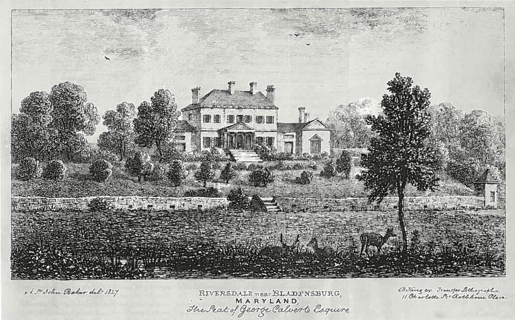 Etching of the Riversdale House Museum in 1827