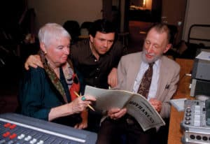 Amelia Haygood, Gerard Schwarz, and Alan Hovhaness during a 1993 recording session